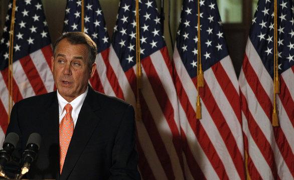 House Speaker Boehner makes brief statement to media at Capitol in Washington