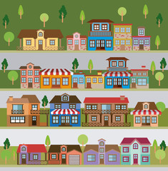 colorful natural landscape with set of scenes in strips of country village vector illustration