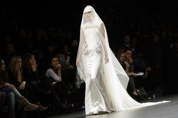 A model displays a creation by designer Nicolas Vaudelet during the Cibeles Madrid Fashion Week Fall/Winter 2010 show in Madrid
