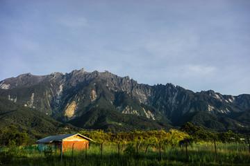 Fototapeta View of small hills in Kundasang village, Sabah, Malaysia