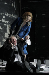 Actors Lohner and Jonasson performs on stage during a dress rehearsal of Ibsen's 'John Gabrial Borkman' in Vienna