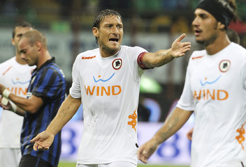 AS Roma's Francesco Totti reacts during their Serie A soccer match against Inter Milan at the San Siro stadium in Milan
