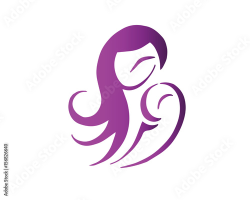 Modern Mother And Baby Logo Purple Mother And Daughter Caring