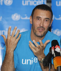 Iraqi singer Kathem al-Saher speaks during a news conference after being selected as a goodwill ambassador for UNICEF in Baghdad