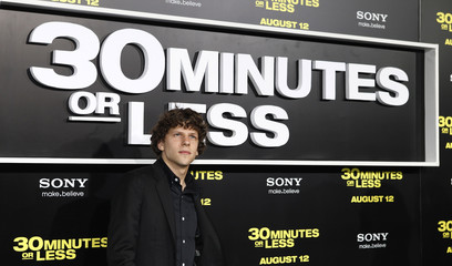 Actor Jesse Eisenberg poses at the premiere of his new film in Hollywood