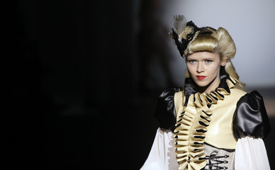 A model presents a creation from 'Bibian Blue' collection at the 080 Barcelona fashion show