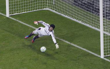 Chelsea's goalkeeper Cech saves penalty against Bayern Munich's Schweinsteiger during their Champions League final soccer match at Allianz Arena in Munich