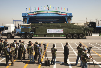 Military vehicle carrying Sejil surface-to-surface missile drives during a parade to commemorate anniversary of Iran-Iraq war in Tehran