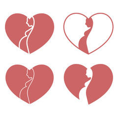 Pregnant heart logo set