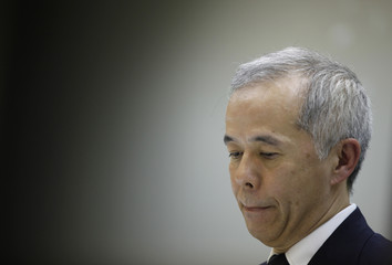 Tokyo Electric Power incoming President Hirose listens to a reporter's question during a news conference in Tokyo
