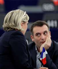 French National Front (FN) political party leader Le Pen, and fellow MEP and FN vice-president Philippot attend the election of the new President of the European Parliament in Strasbourg