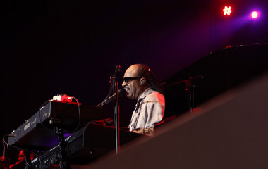 Singer and musician Stevie Wonder performs during the three-day Java Jazz Festival in Jakarta