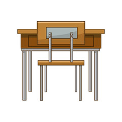 school table and chair of classroom vector illustration