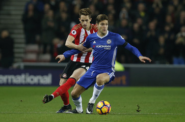 Chelsea's Marcos Alonso in action with Sunderland's Adnan Januzaj