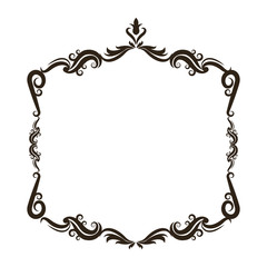 vintage baroque frame scroll floral ornament border retro pattern antique style swirl decorative design vector illustration