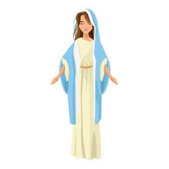 cartoon cute virgin mary character nativity design. vector illustration