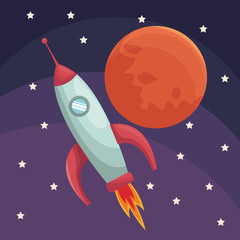 realistic color poster universe with rocket and planet vector illustration