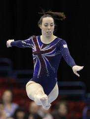 Britain's Tweddle competes in the senior women's floor final during the European Artistic Gymnastics Championships in Birmingham