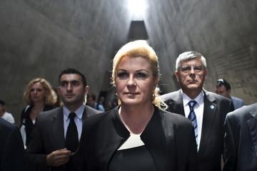 Croatian President Grabar-Kitarovic visits Yad Vashem Holocaust memorial in Jerusalem