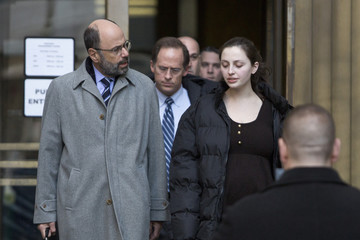 Gliedman leaves Manhattan Criminal Court with her lawyer Shargel in New York