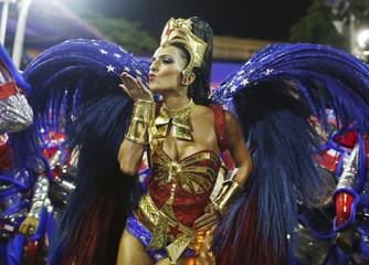 Drum Queen Bruna Bruno from the Uniao da Ilha samba school dances in the annual Carnival parade in Rio de Janeiro's Sambadrome