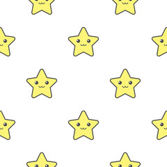 vector seamless pattern of stars with wings on white background. Texture, fill, swatch for your design