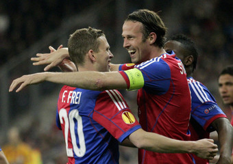 FC Basel's Frei and Streller celebrate after scoring a goal during their Europa League round of 16 second leg soccer match against FC Salzburg in Salzburg