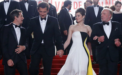 """Director Guillaume Canet and cast members leave after the screening of the film """"Blood Ties"""" during the 66th Cannes Film Festival"""