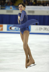Evgenia Medvedeva of Russia performs during the ladies' free skating program at the Skate America figure skating competition in Milwaukee