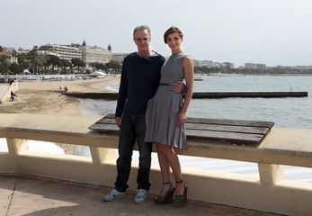 Actors Lambert and Courau attend a photocall for the television series 'La Source' as part of the MIPTV, the International Television Programs Market, event in Cannes