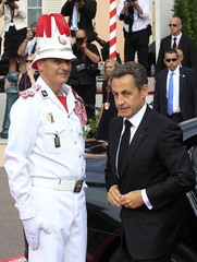 France's President Sarkozy arrives to attend the religious wedding ceremony for Monaco's Prince Albert II and Princess Charlene at the Palace in Monaco