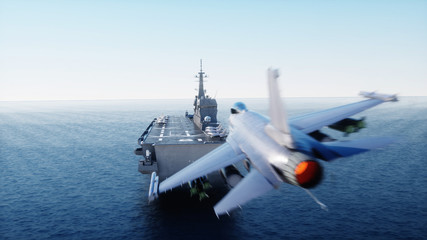 landing jet f16 on aircraft carrier in ocean. Military and war concept. 3d rendering.