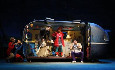 """Actors Kiepe, Affolter, Laux, Dolinski and Bluhm perform on stage during a dress rehearsal of Lindgren's play """"Rasmus, Pontus und der Schwertschlucker"""" in Vienna"""