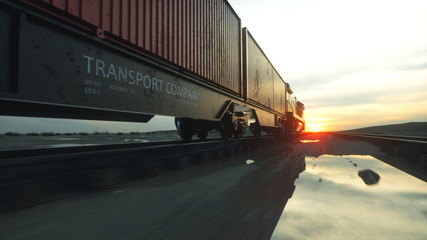 Freight train with cargo containers. Against Sunrise. 3d rendering.