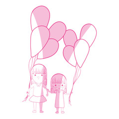 silhouette cute girls with balloons in the hand