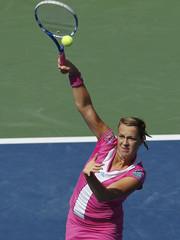 Anastasia Pavlyuchenkova of Russia serves to Serena Williams of the U.S. at the U.S. Open tennis tournament in New York