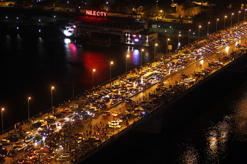 Egyptians celebrate by the river Nile in Cairo