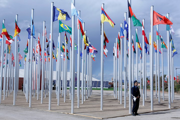 Flags from different countries are displayed at the World Climate Change Conference 2016 (COP22) in Marrakech, Morocco