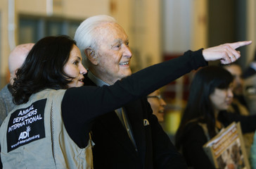 CSI television show actress Jorja Fox points with television personality Bob Barker to a jet containing 25 lions rescued from Bolivian circuses coming on a jet to Denver