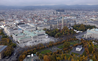 The Parliament and the City Hall of Vienna are pictured from the highest bungee jump crane in the world.