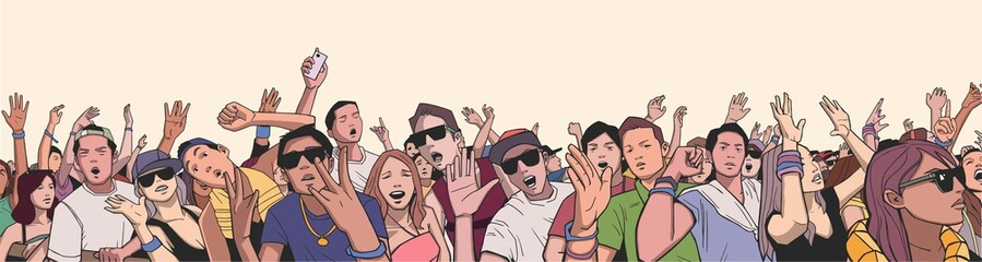 Illustration of festival crowd partying at concert in panorama view
