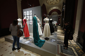 """Vintage dresses by designers Jean Desses, Jacques Fath and Carven are presented in the exhibition """"Les Annees 50, La mode en France"""" at the Palais Galliera  fashion museum in Paris"""