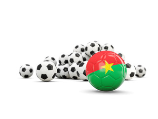 Football with flag of burkina faso isolated on white