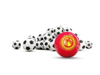 Football with flag of kyrgyzstan isolated on white
