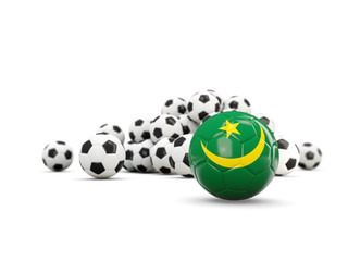 Football with flag of mauritania isolated on white