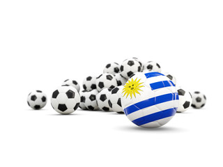 Football with flag of uruguay isolated on white