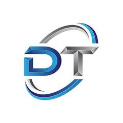 Simple initial letter logo modern swoosh DT