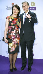 Mayor of Berlin Mueller and his wife Claudia arrive on the red carpet for the Echo Music Awards ceremony in Berlin