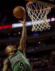 Isaiah Thomas of Boston Celtics leaps to the basket to score against Sacramento Kings during their NBA Global Games basketball game in Mexico City