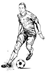 Soccer player in action on grunge background